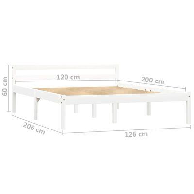 vidaXL Estructura de cama de madera maciza de pino blanco 120x200 cm