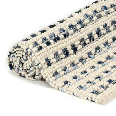 vidaXL Alfombra de lana y tela vaquera azul/blanco 140x200 cm