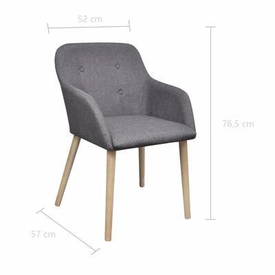 vidaXL Sillas de comedor 6 uds tela gris claro y madera maciza roble
