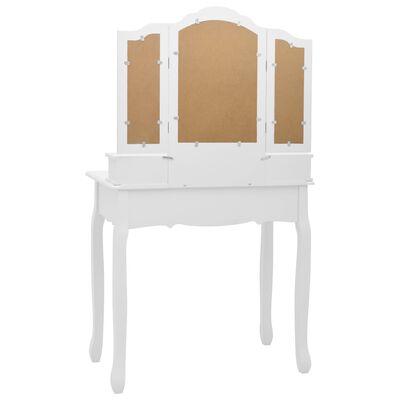 vidaXL Juego de tocador y taburete madera paulownia blanco 80x69x141cm
