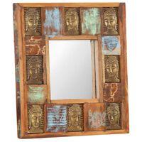 vidaXL Espejo con enchapado de Buda madera maciza reciclada 50x50 cm