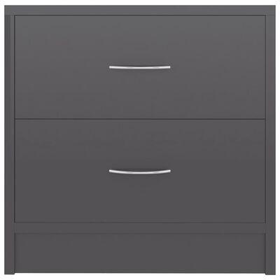 vidaXL Mesita de noche de aglomerado gris brillante 40x30x40 cm