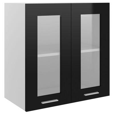 vidaXL Armario colgante cristal y aglomerado negro brillo 60x31x60 cm