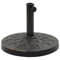 vidaXL Base de sombrilla redonda de poliresina bronce 13 kg