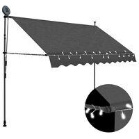 vidaXL Toldo manual retráctil con LED gris antracita 300 cm