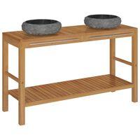 vidaXL Mueble tocador madera teca maciza con lavabos de mármol negro