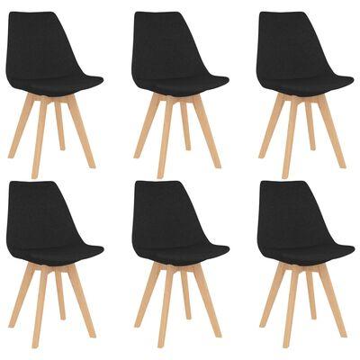 vidaXL Sillas de comedor 6 unidades de tela negra