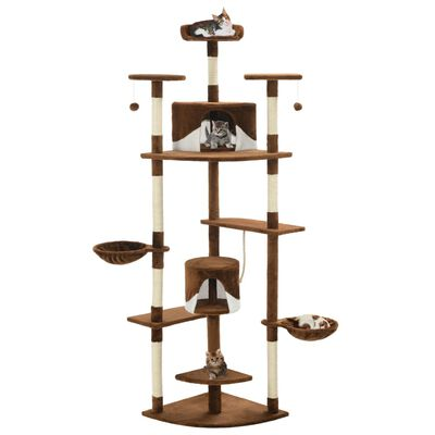 vidaXL Rascador para gatos con poste de sisal 203 cm marrón y blanco