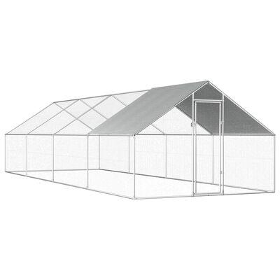 vidaXL Jaula gallinero de exterior de acero galvanizado 2,75x8x1,92 m