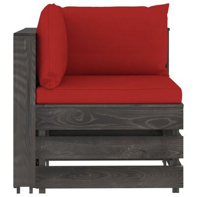 vidaXL Muebles de jardín 4 piezas con cojines madera impregnada gris