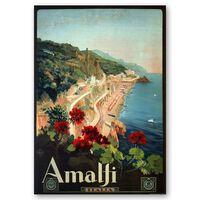 Cartel Turístico Vintage Amalfi - Cuadro Lienzo, Impresión Digital