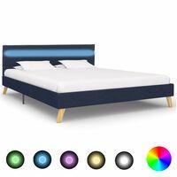 vidaXL Estructura de cama con LED tela azul 160x200 cm