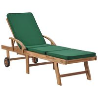 vidaXL Tumbona con cojín madera maciza de teca verde