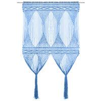 vidaXL Cortina de macramé algodón azul 140x240 cm