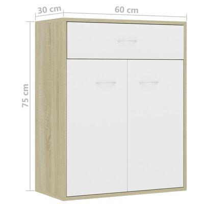 vidaXL Aparador de aglomerado color blanco y roble Sonoma 60x30x75 cm