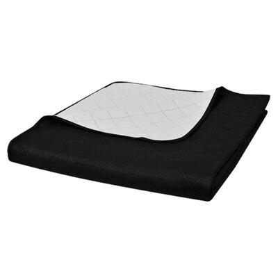 Colcha acolchada a doble cara, color blanco y negro, 170 x 210 cm