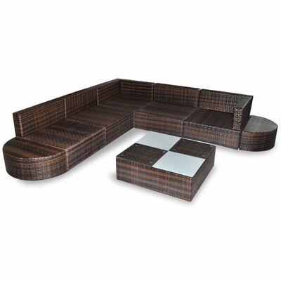 vidaXL Set muebles de jardín 8 piezas y cojines ratán sintético marrón