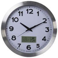 Perel Reloj de pared blanco y plateado 35 cm