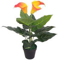 vidaXL Planta Cala Lilly artificial con macetero roja y amarilla 45 cm