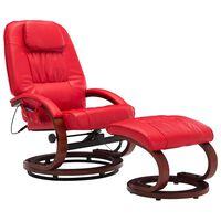 vidaXL Sillón de masaje reclinable con reposapiés cuero sintético rojo