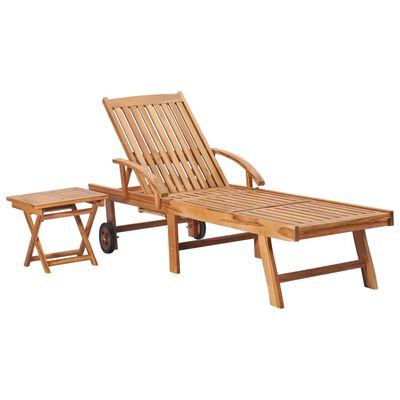 vidaXL Tumbona con mesa y cojín madera maciza de teca