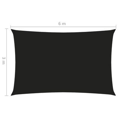 vidaXL Toldo de vela rectangular tela oxford negro 3x6 m