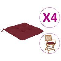 vidaXL Cojines de silla 4 unidades tela rojo tinto 40x40x7 cm