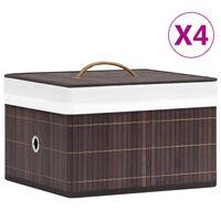 vidaXL Cajas de almacenamiento de bambú 4 unidades marrón