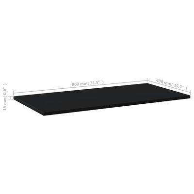 vidaXL Estantes para estantería 8 uds aglomerado negro 80x40x1,5 cm