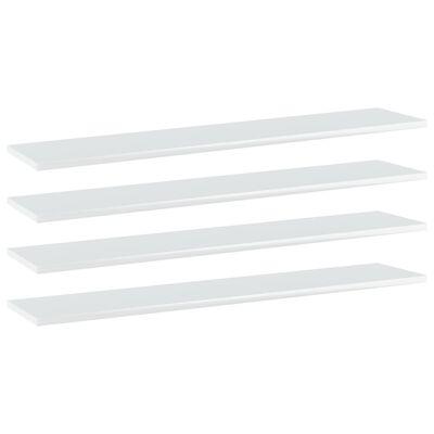 vidaXL Estantes estantería 4 uds aglomerado blanco brillo 100x20x1,5cm