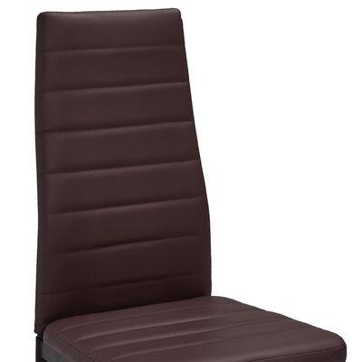 vidaXL Sillas de comedor 6 unidades cuero sintético marrón