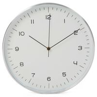 Perel Reloj de pared blanco y plateado 30 cm