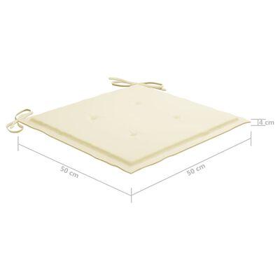 vidaXL Cojines para silla de jardín 6 uds tela color crema 50x50x4 cm