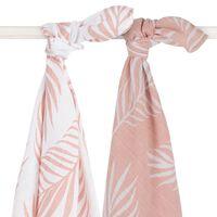 Jollein Muselina multiusos 2 unidades naturaleza rosa pálido 115x115cm