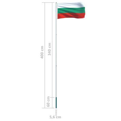 vidaXL Bandera de Bulgaria y mástil de aluminio 4 m
