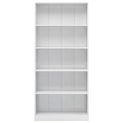 vidaXL Estantería 5 niveles aglomerado blanco brillante 80x24x175 cm