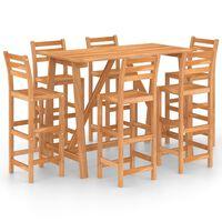 vidaXL Mesa y sillas de bar para jardín 7 pzas madera maciza de acacia