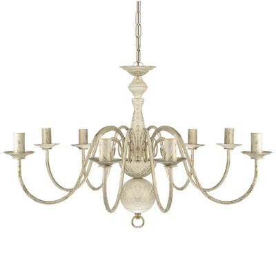 vidaXL Lámpara de araña antique metal blanco 8 bombillas E14