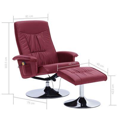 vidaXL Sillón masaje reclinable reposapiés cuero sintético color vino