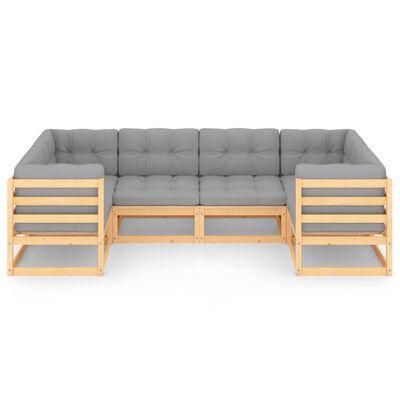 vidaXL Muebles de jardín 6 piezas con cojines de madera de pino maciza