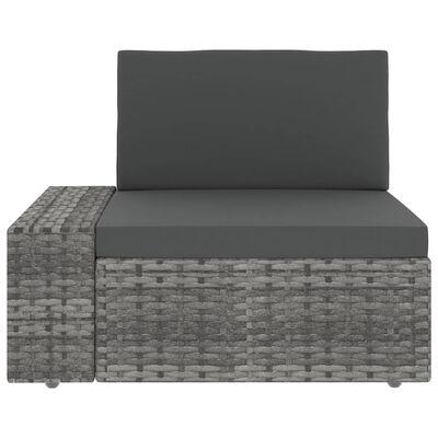 vidaXL Juego muebles de jardín 11 pzas y cojines ratán sintético gris