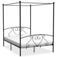 vidaXL Estructura de cama con dosel metal negro 160x200 cm