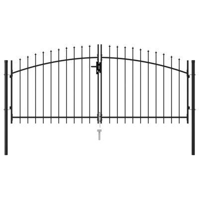 vidaXL Cancela de valla doble puerta con puntas acero negro 3x1,25 m