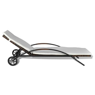 vidaXL Tumbona con cojín y ruedas ratán sintético marrón