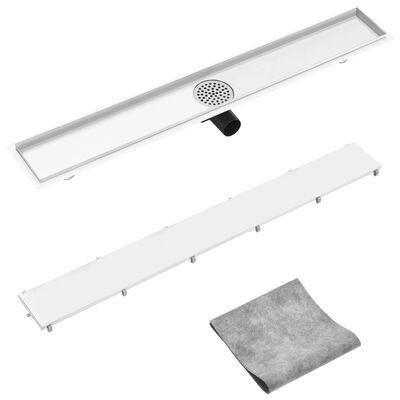 vidaXL Desagüe de ducha con cubierta 2 en 1 acero inoxidable 93x14 cm
