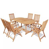 vidaXL Set comedor de jardín 7 pzas con sillas plegables teca maciza
