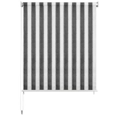 vidaXL Persiana enrollable 140x140 cm a rayas gris antracita y blanca