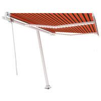 vidaXL Toldo automático LED sensor de viento naranja marrón 350x250 cm