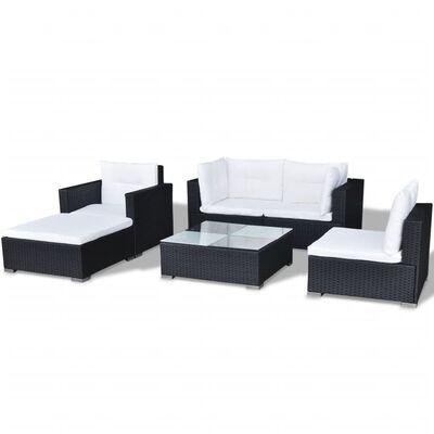 vidaXL Set muebles de jardín 6 piezas y cojines ratán sintético negro
