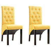 vidaXL Sillas de comedor 2 unidades de tela amarilla